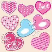 Scrapbook instellen voor hearts in gestikte textiel stijl — Stockvector