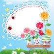 Summer frame with flowers in pots, ladybirds and butterflies — Imagen vectorial