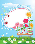 Summer frame with flowers in pots, ladybirds and butterflies — Stock Vector