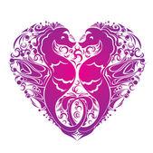 Een hart is gemaakt van paar van zeepaardjes — Stockvector