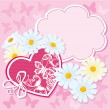 Heart and daisies on a pink background with butterflies. valentine card — Stock Vector