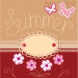 Romantic summer card with laces, butterflies and flowers — Stock Vector