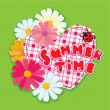 Stock Vector: Checkered Heart, ladybird and daisies on green background.