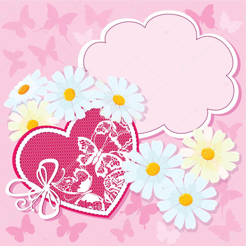 Heart and daisies on a pink background with butterflies. valentine card — Stock Vector #11579512