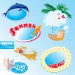 Stock Vector: Summer beach frames and elements set