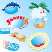 Summer beach frames and elements set — Stock Vector