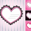 图库矢量图片: Set of 4 hearts shape lace doily on stripe background