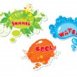 Stock Vector: Set of summer speech bubbles formed from water, butterflies, leafs, blots
