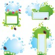 Set of summer backgrounds and frames with grass, flowers and ladybirds — Stock Vector