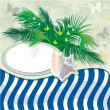Royalty-Free Stock Vector Image: Grunge summer holiday background with palm tree and shell