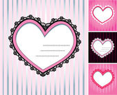 Set of 4 hearts shape lace doily on stripe background — Stock Vector