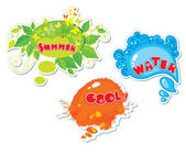 Set of summer speech bubbles formed from water, butterflies, leafs, blots — Stock Vector