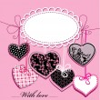 Vector de stock : Holiday background with black and pink ornamental hearts and oval frame for your text