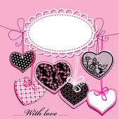 Holiday background with black and pink ornamental hearts and oval frame for your text — Stock vektor
