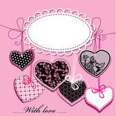 Vakantie achtergrond met zwarte en roze sier hartjes en oval frame voor uw tekst — Stockvector