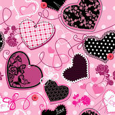 Pink and black Hearts on a pink background - seamless pattern — Stock Vector