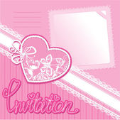 Heart and piace of paper on a pink background - invitation card — Stock Vector