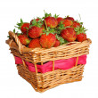 Stock Photo: Appetizing strawberries in basket. Isolated on white background