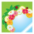 Ladybirds and daisies - summer card with empty space for your text — Stock Vector