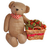 Strawberry in a basket and hand made teddy bear toy isolated on white background — Stock Photo
