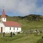 Dyrholaey churh and cemetery, Iceland. — Stock Photo