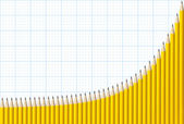Exponential Graph of Pencils — Stock Photo