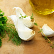 Garlic and herbs — Stock Photo