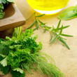 Herbs and olive oil — Stockfoto