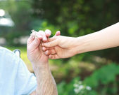Giving a flower to senior lady — Stockfoto