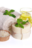 Spa Still Life - Towels, Body Salt, Soap and Essential Oil — Stok fotoğraf