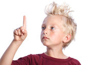 Young Blonde Boy Looking and Pointing — Stock Photo
