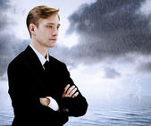 Business Man at Sea Storm — Stock Photo