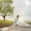 Young Girl at a Brook — Stock Photo