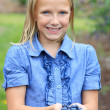 Blonde Girl with Fresh Picked Blueberries Smiling — Stock Photo