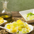 Delicious salad with leek, celery and pineapple — Foto de Stock