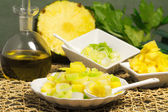 Delicious salad with leek, celery and pineapple — 图库照片