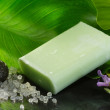 图库照片: Bar of soap over natural background