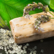 Bar of soap over natural background — Foto de Stock