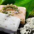Bars of soap in natural background — Stockfoto