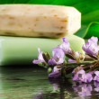 Flower scented bars of soap — Stock Photo