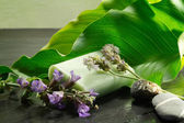 Soap with flowers and calla leaf — Stock Photo