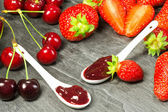 Cherry and strawberry iam — Stock Photo