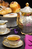 Tea break with lavender flavored tea — Stok fotoğraf