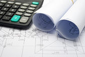 Architectural plans and calculator — Stock Photo