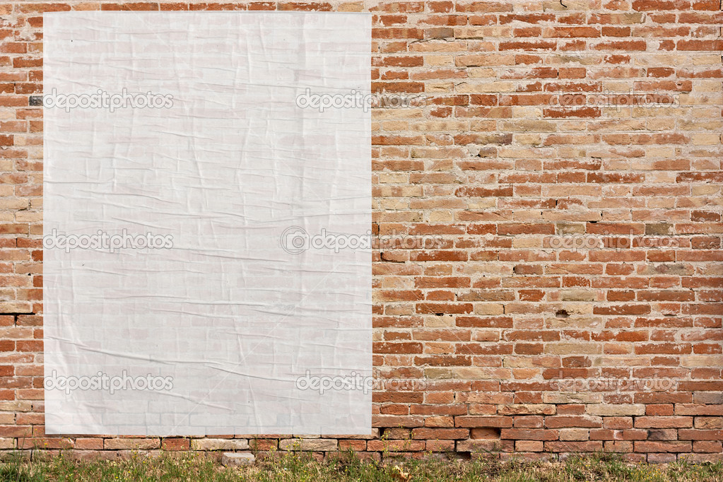 Empty poster on the wall u2014 Stock Photo u00a9 ermess #11371284
