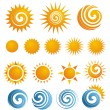 Set of Sun icons and design elements — ストックベクタ