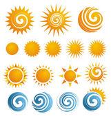 Conjunto de iconos de sol y elementos de diseño — Vector de stock