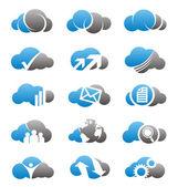 Nuage icônes et logos ensemble — Vecteur