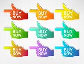 Stickers hand buy now — Stock Vector