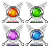 Creative buttons Registration — Stock Vector